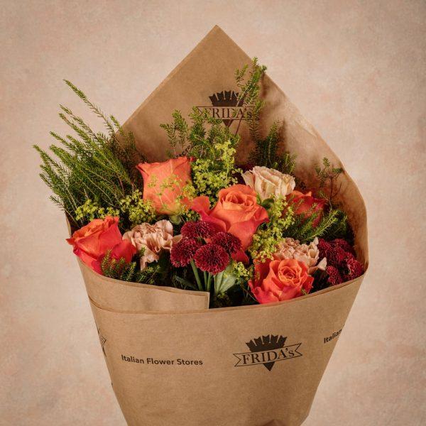 Bouquet Fiori Arancio, bouquet di fiori freschi toni dell'arancio