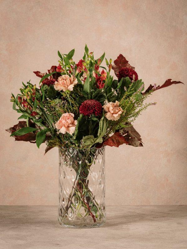 Bouquet Stagionale Rosso, fiori freschi dai toni caldi dell'autunno