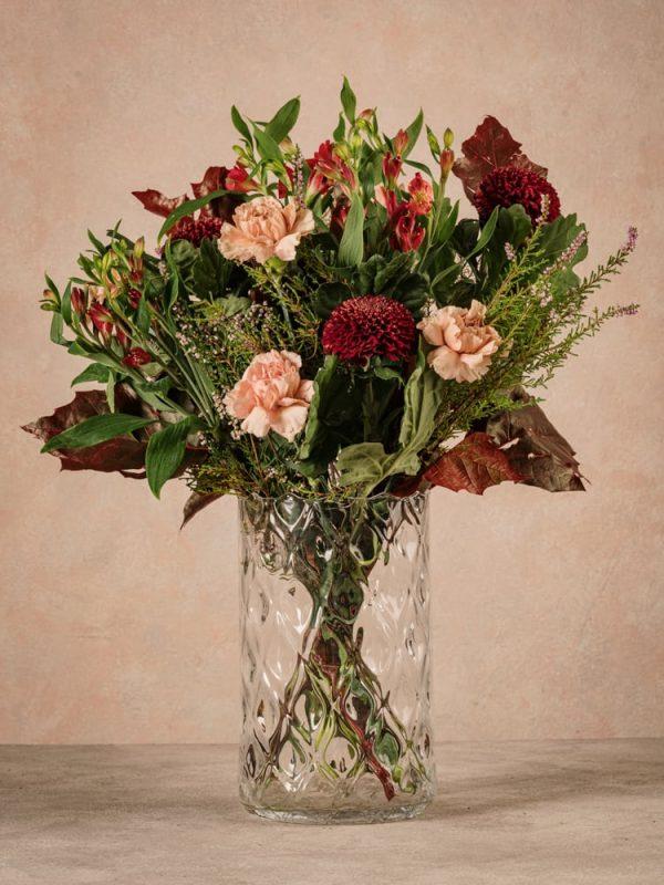 Bouquet Stagionale Rosso, dettagli fiori freschi colori caldi dell'autunno
