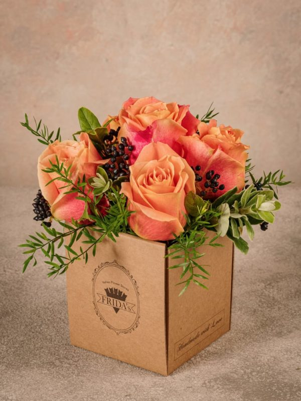 Box Autunno Frida's, fiori in box di cartone riciclato consegna a domicilio