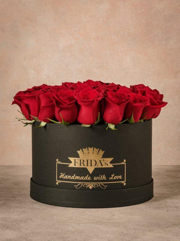Cappelliera grande Rose Bianche, rose a domicilio in una scatola fatta a mano con marchio Frida's