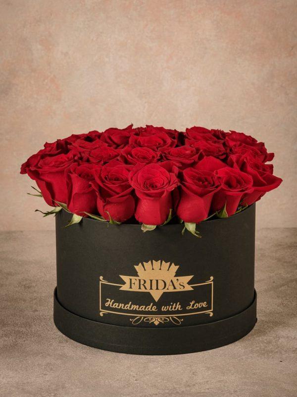 Cappelliera grande Rose Bianche, scatola fatta a mano con marchio Frida's