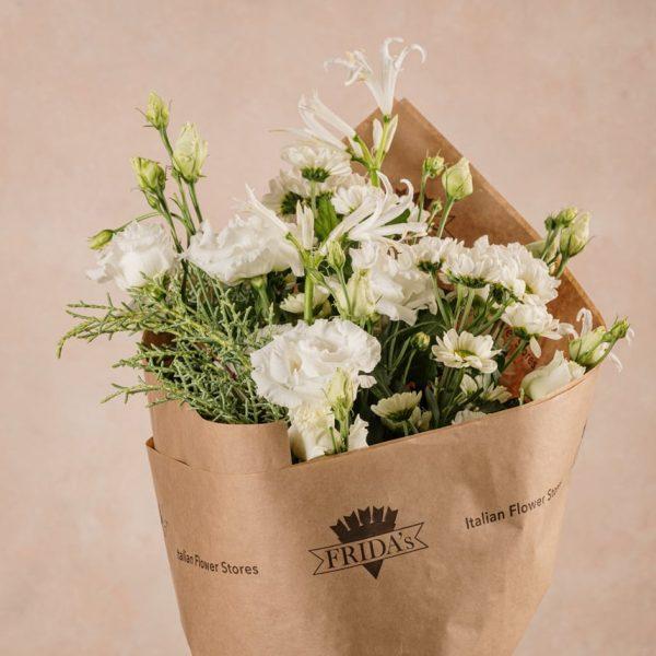 Bouquet Inverno Bianco, fiori freschi bianchi Frida's. Consegna domicilio in tutta Italia