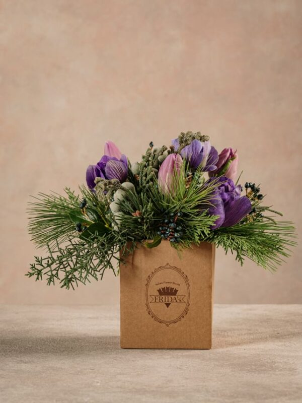 Box Light Purple, box in cartone 100% riciclato. Fiori freschi Frida's