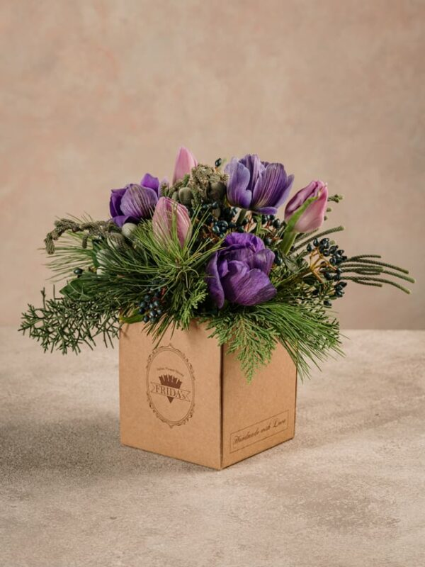 Box Light Purple, box in cartone 100% riciclato. Fiori freschi Frida's toni viola e lilla