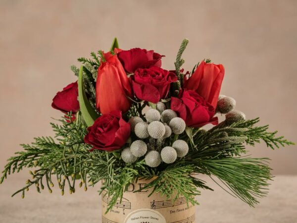 Sushi Red Winter, fiori recisi freschi dalle tonalità del rosso. Consegna a domicilio in tutta Italia